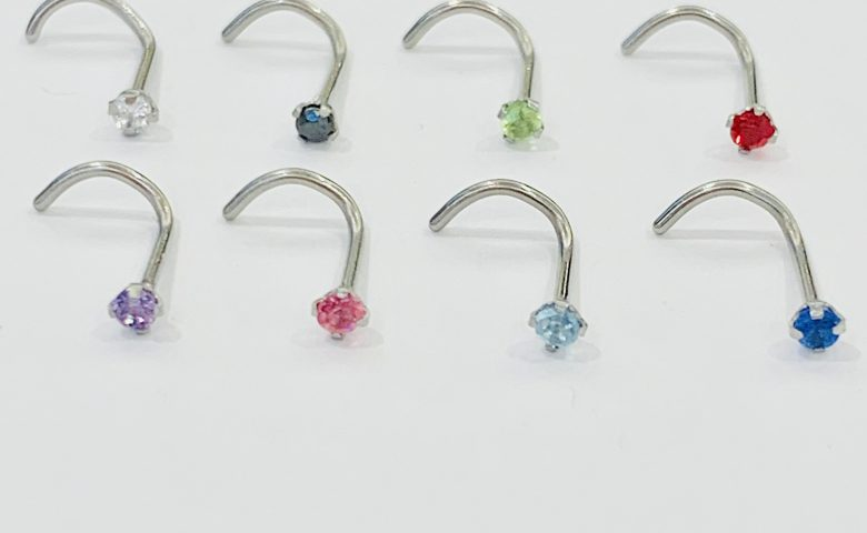 Claw set nose stud colours- by Angel Body Jewellery