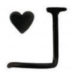 Black Steel Heart Nose Ring