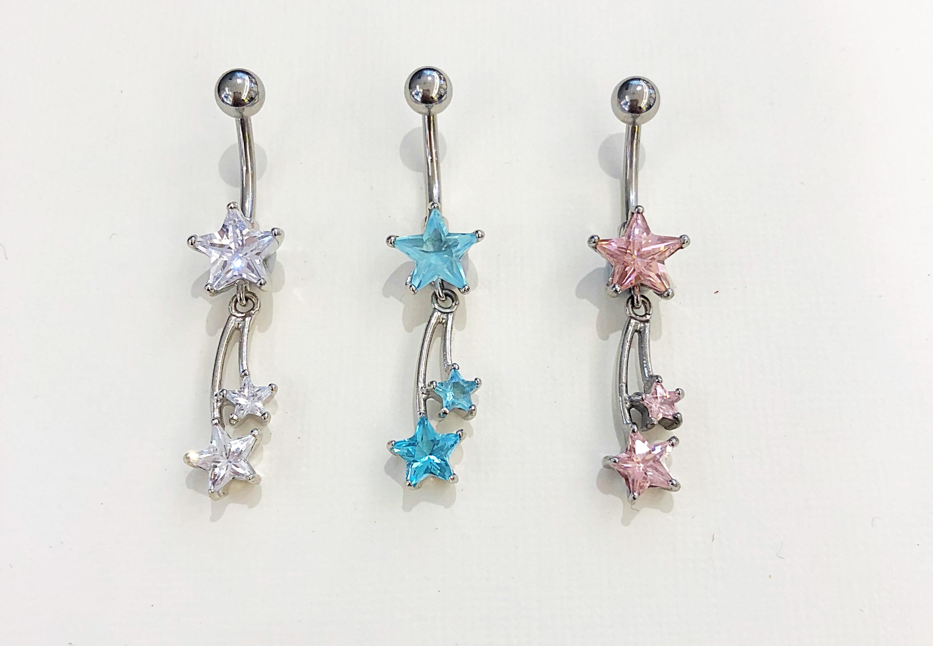 8e703fbd5 Double Star Crystal Dangle Belly Bar - Angel Body Jewellery