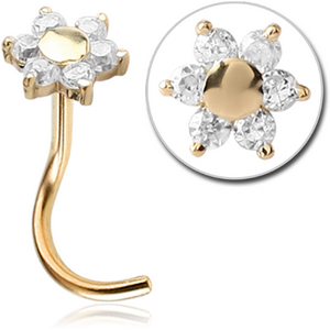 18ct Solid Gold Flower Nose Stud