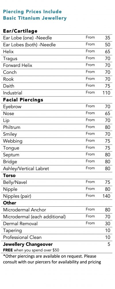 Angel Body Jewellery Piercing Prices